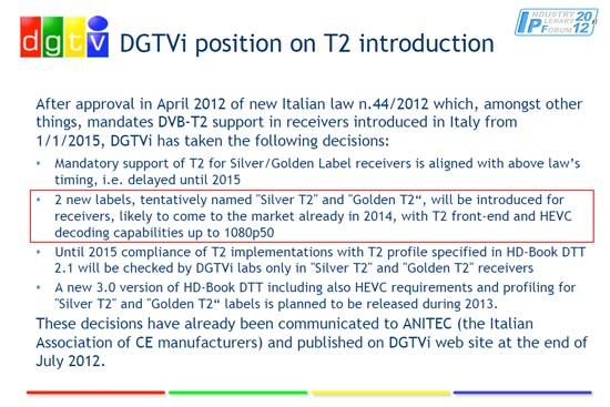 DGTVi: DVB-T2 con H.265 nel 2015